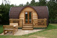 Pods by Future Rooms, a Glamping Pod supplier and manufacturer Tiny House Cabin, Tiny House Design, Patio Roof Covers, Arched Cabin, Camping Pod, Dome House, House In The Woods, Play Houses, Beautiful Homes
