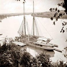 Civil War Ship - stunning image of Drewry's Bluff, Virginia. Federal transports with cargoes of artillery on the James. It was taken in 1865.