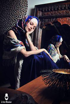 A LA RUSSE campaign with Russian shawls & scarves à la Russe: Russian Fairy-Tales (in pure Russian style) | www.a-la-russe.com