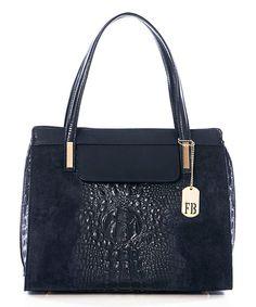 Loving this Blue Crocodile-Embossed Suede Handbag on #zulily! #zulilyfinds