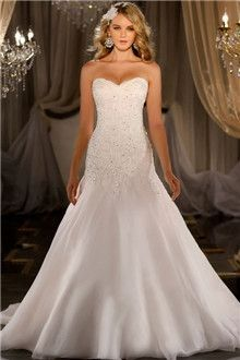Trumpet/Mermaid Strapless Sweetheart Chapel Train Organza Wedding Dresses