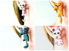 Real Custom Kawaii Animal Gauges Plugs Piercing 8g, 6g, 4g, 2g, 0g, 00g, 7/16, 1/2, 9/16, 5/8, 3/4, 7/8, 1 inch earrings Polymer clay on Etsy, $23.00