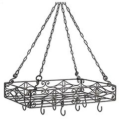 Hanging Pot Rack... always wanted one! Actually might be neat to hang candles in jars from at different lengths outside under the patio...hmmm
