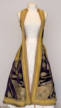 Albania, Woman's Gold Embroidered Coat, Sleeveless purple velvet w/ elaborate gold couched embroidery & gold galloon, printed cotton lining, c. Vintage Outfits, Vintage Fashion, Clothing And Textile, Folk Costume, Mode Outfits, Looks Style, Ethnic Fashion, Historical Clothing, Larp