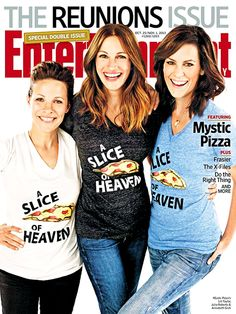 With david duchovny and gillian anderson, as well as the mystic pizza reunion cover featuring annabeth gish, alongside julia roberts and lily taylor. Lili Taylor, Annabeth Gish, Mystic Pizza, Runaway Bride, The Reunion, Gillian Anderson, Entertainment Weekly, Julia Roberts, Celebs