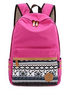 02e3c86d36 Women s Canvas Laptop Backpack Travel Handbag Rucksack Shoulder School Bag  Rose in Clothing