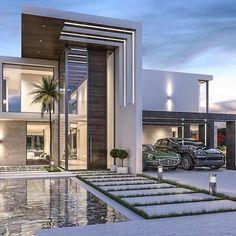 amazing home mansions luxury exterior design ideas 21 Modern Villa Design, Modern Exterior House Designs, Dream House Exterior, Modern Architecture House, Exterior Design, Architecture Design, Modern Houses, Facade Design, Big Houses Exterior