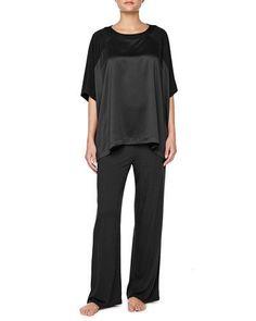 $150 NATORI SHANGRI LA LOUNGE PAJAMA SET BLACK JERSEY & CHARMEUSE PJS X76051 M #Natori #PajamaSets