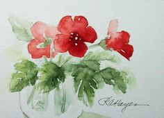Red Flowers in Glass Jar Watercolor Painting Floral Original ACEO