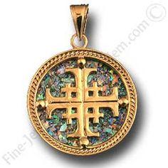 Roman Glass Jewelry gold   14K gold Jerusalem cross pendant with roman glass