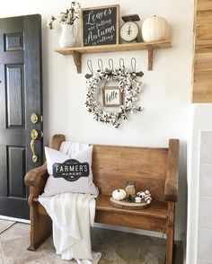 10 Farmhouse Entryway Decor Ideas to Easily Set in Your House Interior – Rustic House Diy Home Decor, Room Decor, Wall Decor, Nursery Decor, Bench Decor, Wall Art, Rustic Farmhouse Entryway, Modern Farmhouse, Farmhouse Style