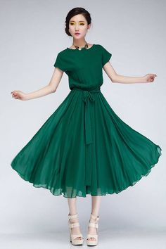 Sweet Style Scoop Neck Ruffled Stringy Selvedge Elastic Waist Short Sleeves Chiffon Dress For Women  | Sammydress.com