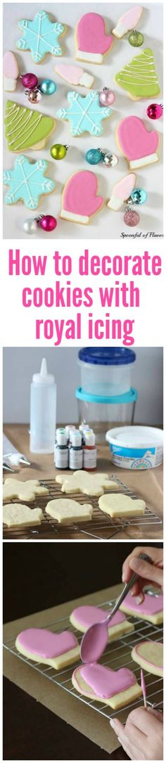 Tips and techniques for how to decorate cookies with royal icing! Tips and techniques for how to decorate cookies with royal icing! Iced Cookies, Cookie Desserts, Cookies Et Biscuits, Holiday Cookies, Frosted Cookies, Decorated Cookies, Cookie Icing, Royal Icing Cookies, Icing For Gingerbread Cookies