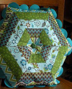 Hexagon Pillow. Greens, blues and browns. Looks like Felt trim. Very cute!