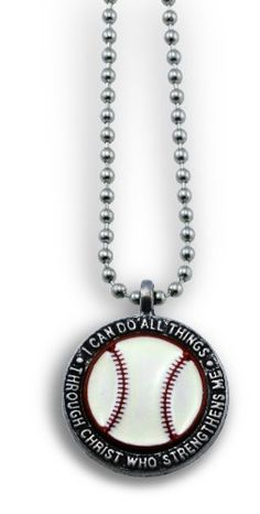 """Forgiven Jewelry - Colorful Baseball Pendant Necklace """"I Can Do All Things Through Christ"""" Christian Jewelry"""
