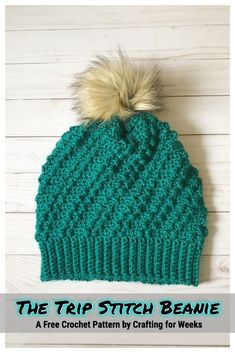 The Trip Stitch Beanie: A Free Crochet Pattern - Crafting for Weeks #crochet #crochetpattern #freecrochetpattern