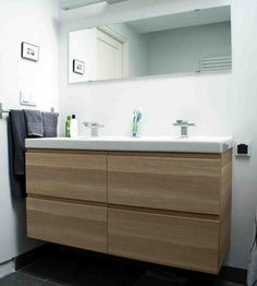 bathroom vanity hack from kenning design with contemporary ikea ideas pic.Ikea GODMORGON vanity in white stained oak effect. Ikea Bathroom Sinks, Floating Bathroom Vanities, White Bathroom Cabinets, Bathroom Furniture, Small Bathroom, Bathroom Ideas, Floating Vanity, Bathroom Images, Bathroom Marble