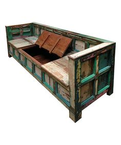 Another great find on #zulily! Reclaimed Wood Storage Bench #zulilyfinds