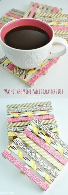 76 Crafts To Make and Sell - Easy DIY Ideas for Cheap Things To Sell on Etsy, Online and for Craft Fairs. Make Money with These Homemade Crafts for Teens, Kids, Christmas, Summer, Mother's Day Gifts. | Washi Tape Mini Wood Pallet Coasters | diyjoy.com/crafts-to-make-and-sellhttp://diyjoy.com/crafts-to-make-and-sell?a=jl&var=fb-BrilliantCrafts