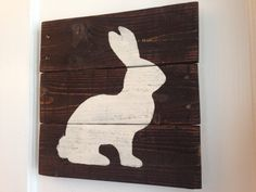 Distressed Dark Stain Rustic Easter Bunny Hanging Wall Art Sign made from Pallet Wood Reclaimed on Etsy, $30.00