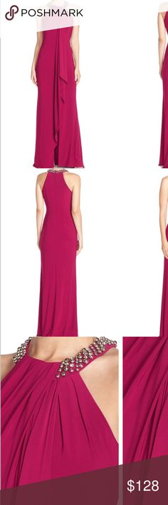Fuchsia elegant jeweled Neck gown See last photo for description♦️Make offer through the Offer Button♦️As I will only be accepting reasonable offers through the offer button.  Please ask any questions before buying as all sales final.  Or if you prefer to bundle to pay one shipping charge. 20% off two items 30% off 3 items or more. 🚫No Trades or 🚫PayPal accepted😃 ALL ITEMS COME FROM SMOKE FREE HOME Eliza J Dresses Prom