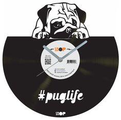 Puglife vinyl clock by CROPSHOPlt on Etsy