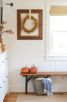IRON & TWINE: fall home - love the framed wreath