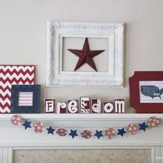 DIY forth of july mantel