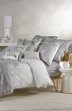 Nordstrom at Home 'Lace a Round' Collection  available at #Nordstrom.  Master bedroom bedding.  Accent with blue pillows and sheets.