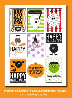 Happy Halloween Tags {free printable} I Heart Nap Time Halloween Tags, Feliz Halloween, Fröhliches Halloween, Halloween Pictures, Holidays Halloween, Vintage Halloween, Halloween Decorations, Halloween Printable, Halloween Clothes