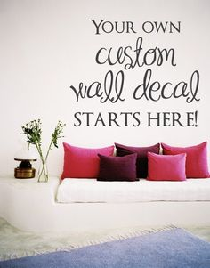 Elegant FREE SHIPPING Custom Wall Decal Choose The Font By DecalChic, $6.00