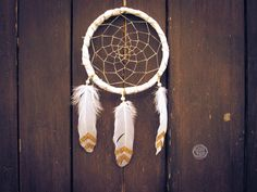 Dream Catcher  Golden Magic  With White Frame by bohonest on Etsy #boho #nest #nature #gold #golden #sparkling #diy #inspiration #tribal #white #christmas