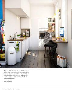 kjøkken, utleie liten leilighet Smart bruk av forlenget benkeplate - skaper en ekstra arbeidsplass