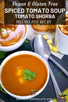 A bowl of this Spiced Tomato Soup (or Tomato Shorba) is perfect and delicious to warm up your cold afternoons. It is a warm, nutritious, low calorie and flavor packed recipe with warm spices. To relish most, top it with some cashew cream or vegan butter. Serve it with some crispy garlic bread on the side. Enjoy a soul warming spicy tomato soup, which is almost impossible to resist. Vegetarian One Pot Meals, Vegetarian Recipes, Indian Tomato Soup, Shorba Recipe, Keep Recipe, Tomato Soup Recipes, Cashew Cream, Veggie Soup, Hot Soup