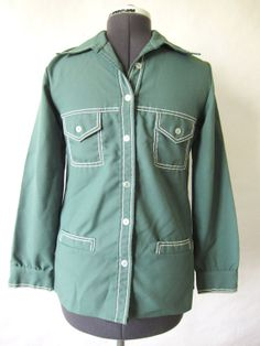 SALE 1960s Green Western Shirt by PaperDarlings on Etsy, $32.00