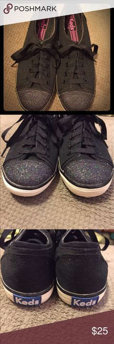 Keds with glitter toe Keds sneakers with glitter toes. New without tag. Never worn. Reasonable offers considered. Keds Shoes Sneakers