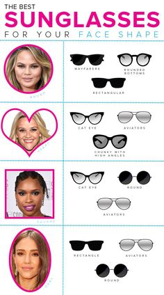 572ae1c482 This guide will help you find the best sunglasses for your face shape.  These sunglass styles will fit your face shape. There are tips to help make  the ...