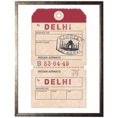 Delhi Travel Ticket in Pewter Shadowbox