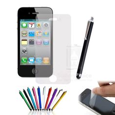 Lot Of 2 5 10 20 High Quality Matte Screen Protectors & Stylus For iPhone 4G 4S