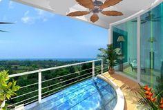 Balkon mit kleinem Pool-Metallgeländer-Blumendekorationen Bodenvasen
