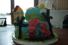 Torta di compleanno :il mondo di Peppa Pig. Fatta da me con tanto lavoro per unire il gusto italiano al Cake design