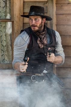 'The Magnificent Seven' Cast - Meet the Movie's Stars!: Photo The highly anticipated new film The Magnificent Seven is in theaters now and it is expected to top the box office this weekend! The movie stars Chris Pratt, Denzel… Old West, Magnificent Seven 2016, Westerns, Cowboy Outfits, Cowboy Up, Chris Pratt, Christopher Pratt, Western Movies, Halloween Disfraces