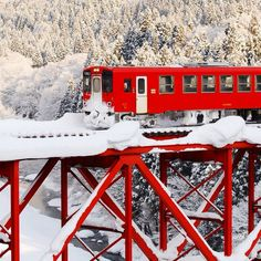 Snow Rail and red train, Akita, Japan By Train, Train Tracks, Beautiful World, Beautiful Places, Places To Travel, Places To Go, Trains, Winter Schnee, Akita