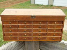 Vintage Jewelers Watchmakers Small Parts Wooden Cabinet 20 Drawer Apothecary