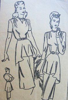 1940s BEAUTIFUL PEPLUM DRESS PATTERN 2 STYLE VERSIONS