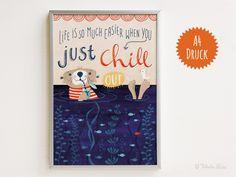 """Digitaldruck - """"Chilling Otter"""" - A4 Druck - ein Designerstück von TabulaRosi bei DaWanda"""