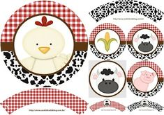 Baby Farm: Wrappers and Toppers for Cupcakes for Free Print. Cow Cupcakes, Farm Animal Cupcakes, Farm Animal Party, Farm Animal Birthday, Farm Birthday, Farm Party, 50th Birthday, Birthday Parties, Cowboy Theme