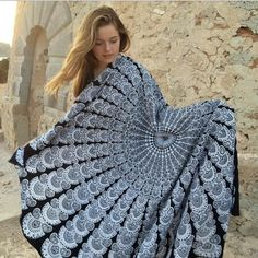 150cm Summer Large Polyester Bohemia Printed Round Beach Towels Boho Circle Pizza Beach Towel Serviette De Plage