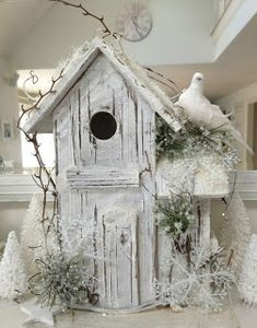Passionate for White: Blissful White Wednesday Christmas Bird, Shabby Chic Christmas, Handmade Christmas, Christmas Crafts, Decoration St Valentin, Christmas Decorations To Make, Holiday Decor, Decorative Bird Houses, Bird Cages