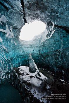 Ice cave in Vatnajokull glacier Iceland Photo by Stefnisson